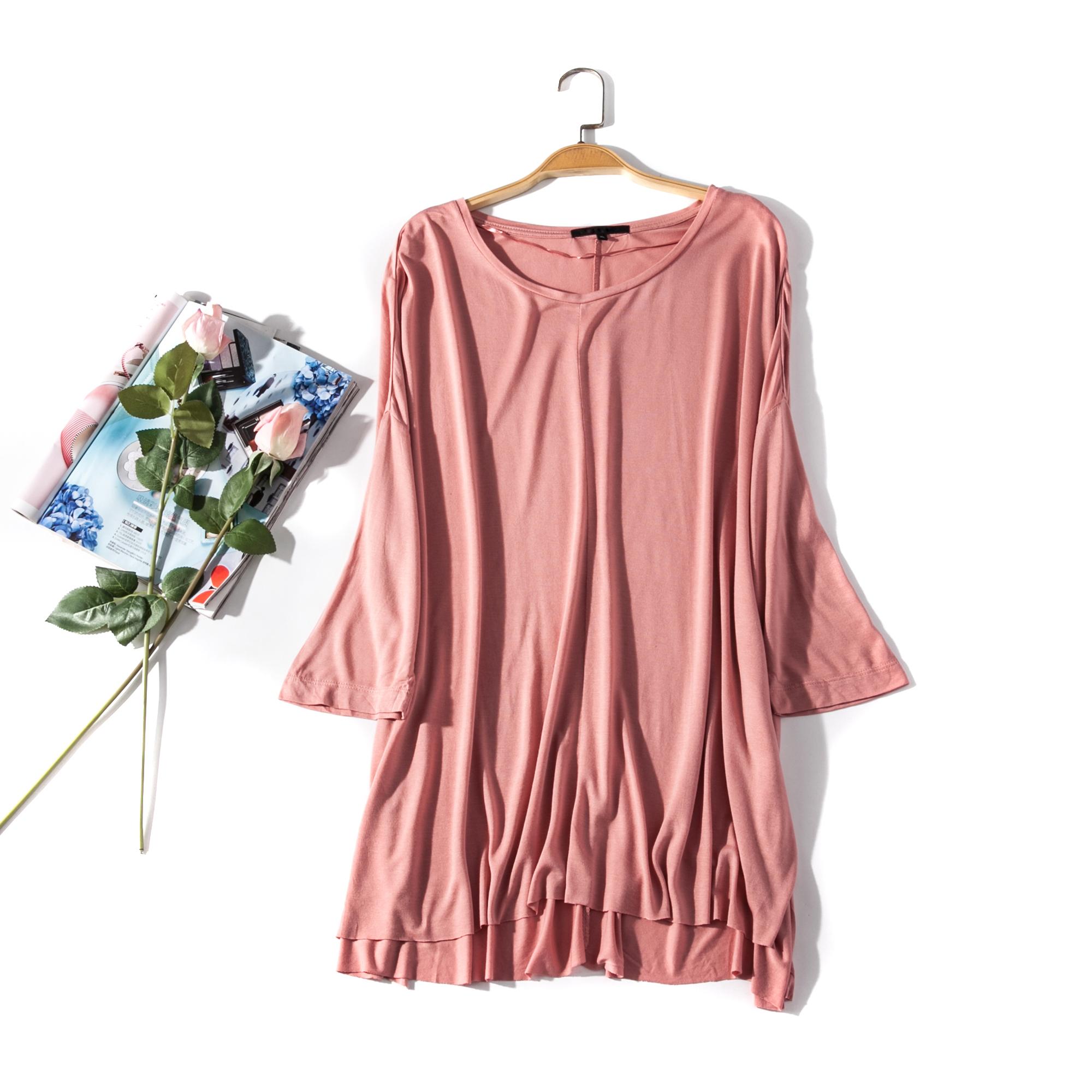 出口欧美单女装胸围116-140cm 纯色五分袖套头轻薄中长T恤L355