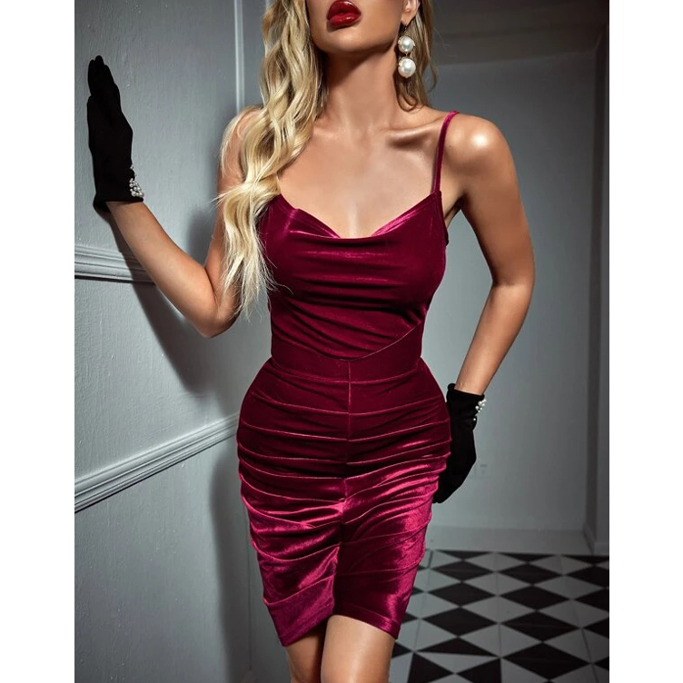 European and American new Velour hip strap Pencil Dress Sexy open back pleated nightclub skirt