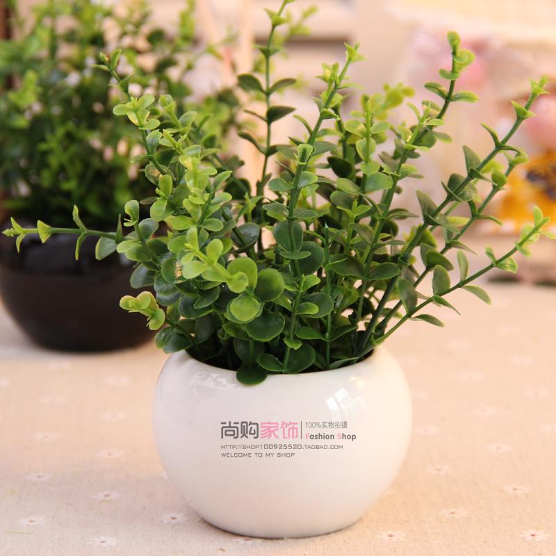 迷你圆球陶瓷花瓶绿叶尤加利仿真花花艺套装 新房隔板家居装饰品