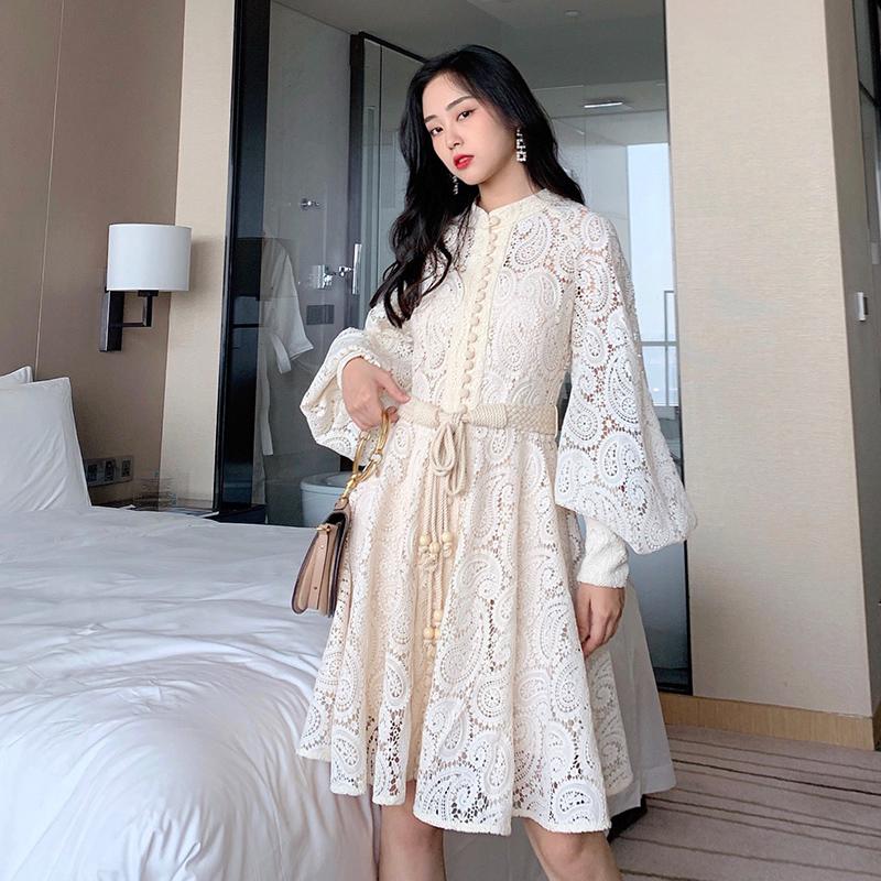 券后469.00元小妖妖家秋装2019新款白色连衣裙