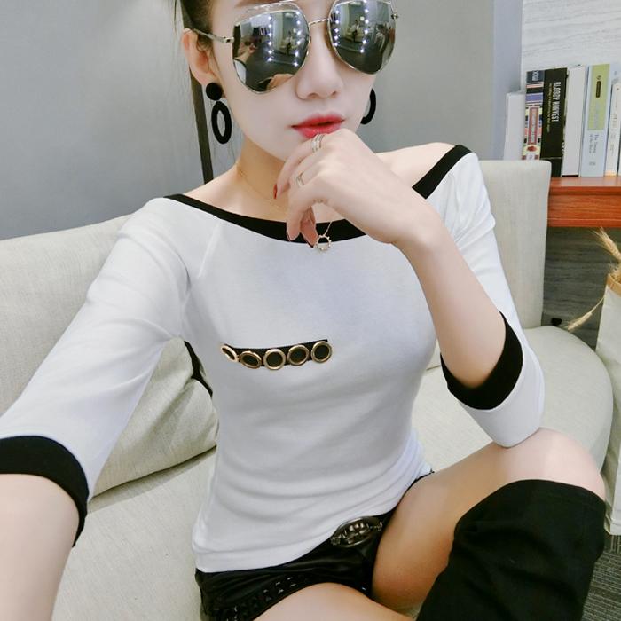 2018秋款女装拼色一字领露肩上衣中袖打底衫纯棉大码七分袖T恤女