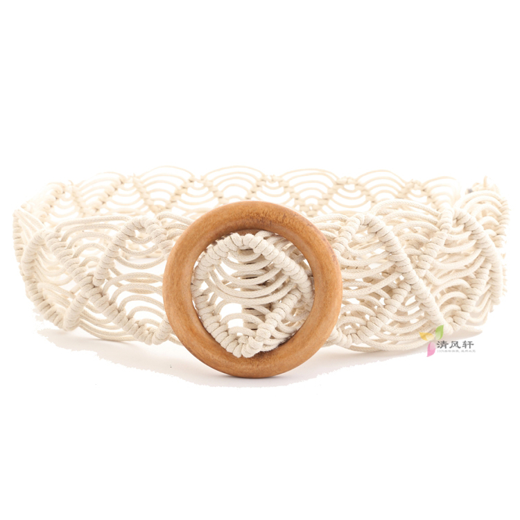 Bohemian wax rope weaving womens skirt belt hand woven ethnic canvas super wide belt decorative white