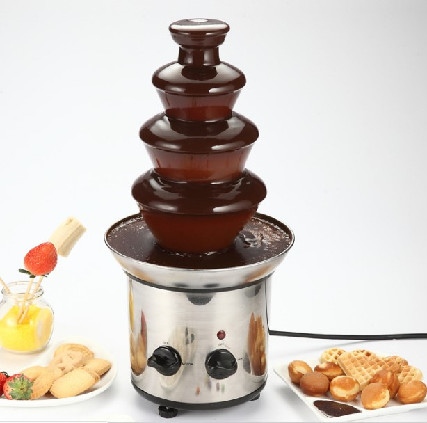 四层DIY巧克力喷泉机瀑布火锅熔浆机自动融化塔派对家居生活商用