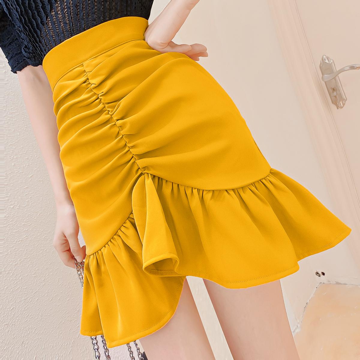 韩版褶皱荷叶边半身裙a字高腰显瘦夏季不规则包臀不规则短裙女