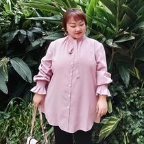 270斤胖mm歌鱼大码女装加肥加大胸显瘦减龄衬衣宽松打底衬衫上衣