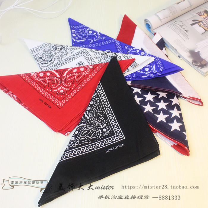 Korean online star same style waist flower headdress Small Square Scarf Hair triangle scarf European and American fashion small scarf