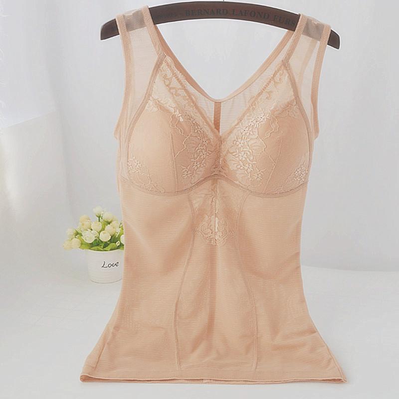雅兰都收腹束腰背心式上衣 夏季塑身衣带文胸一体式薄款塑形 加长
