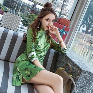 2021夏季 修身 刺绣七分袖 中国风复古名媛气质连衣裙女装 中式 旗袍裙