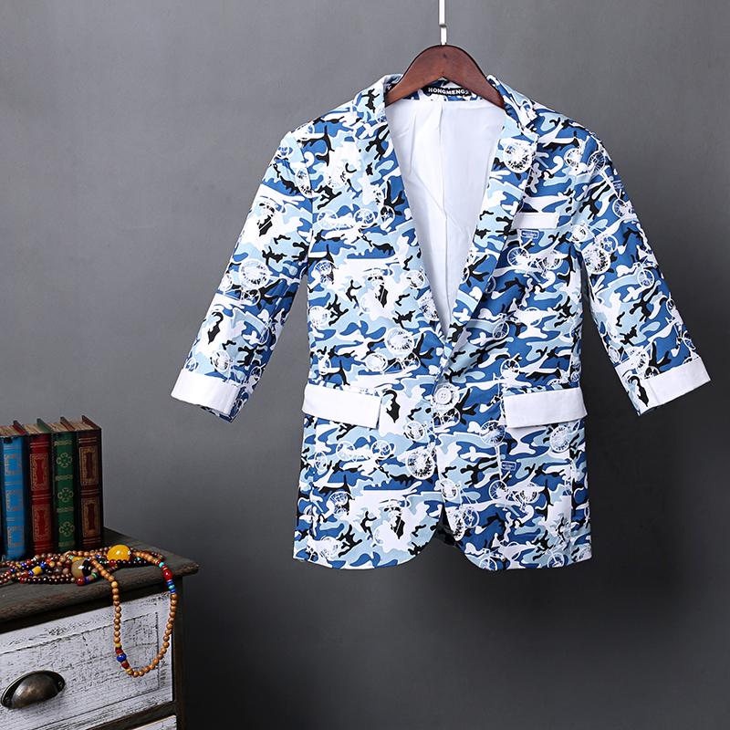夏季男士休闲迷彩西服七分袖一粒扣大码小西装QT713A-XF2001-P110