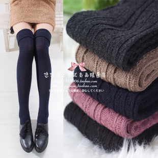 Japanese twist fringe boots winter warm socks Japan curling cotton high socks knee socks stockings