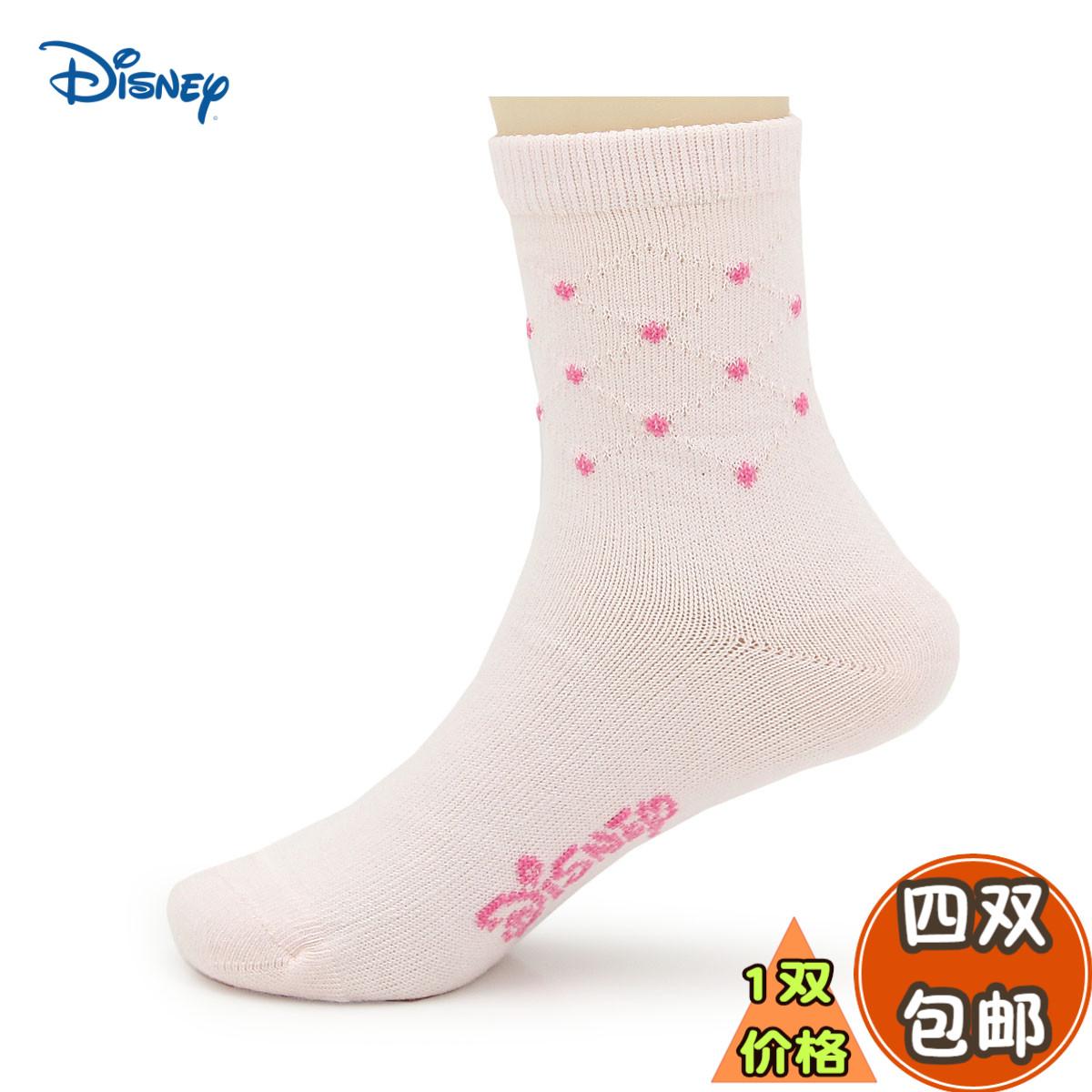 专柜三枪内衣迪士尼全棉袜儿童袜子秋冬圆点保暖中筒袜女童厚棉袜