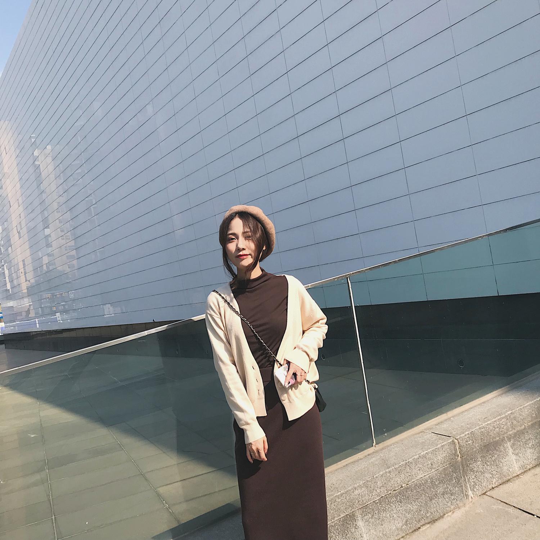 MINI XIN  秋季新款BI备开衫长袖短外套慵懒气质风针织小外套女