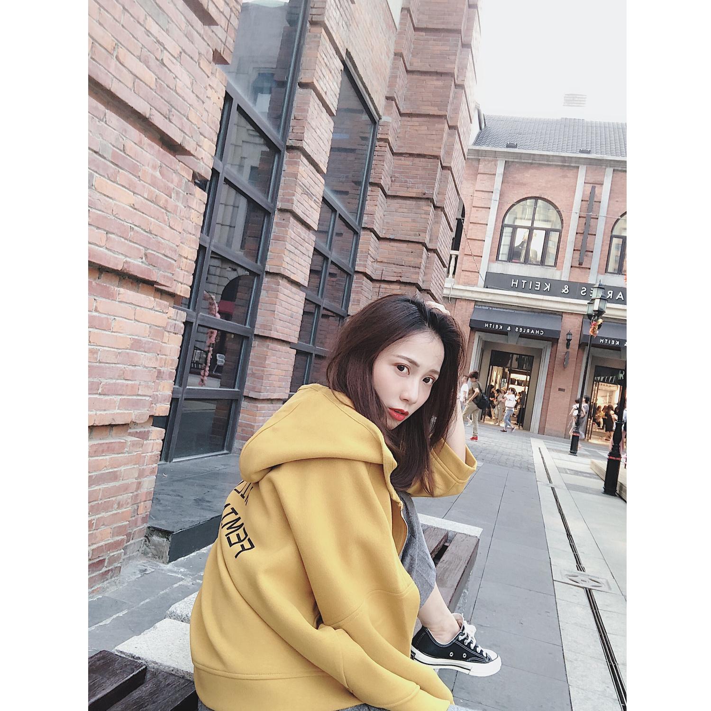 MINI XIN 2018秋季新款首发韩版后英文个性短款连帽厚外套女学生