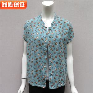 中老年夏装短袖衬衫老年女纯棉衬衫
