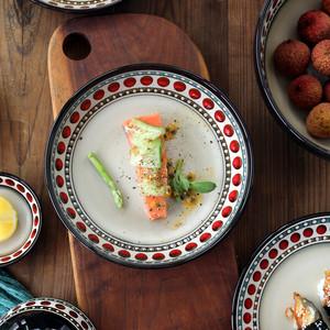 朗汀欧式波点陶瓷盘子家用水果盘沙拉盘深菜盘鸡汤大汤碗釉下彩