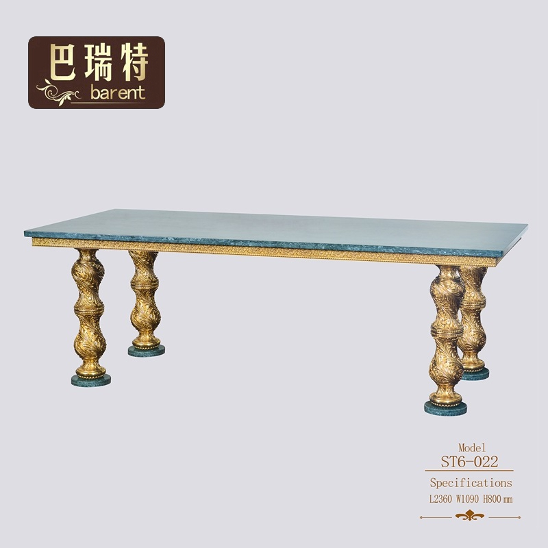Barrett hot sale retro Italian Baroque all copper marble table size 10 people long western dining table
