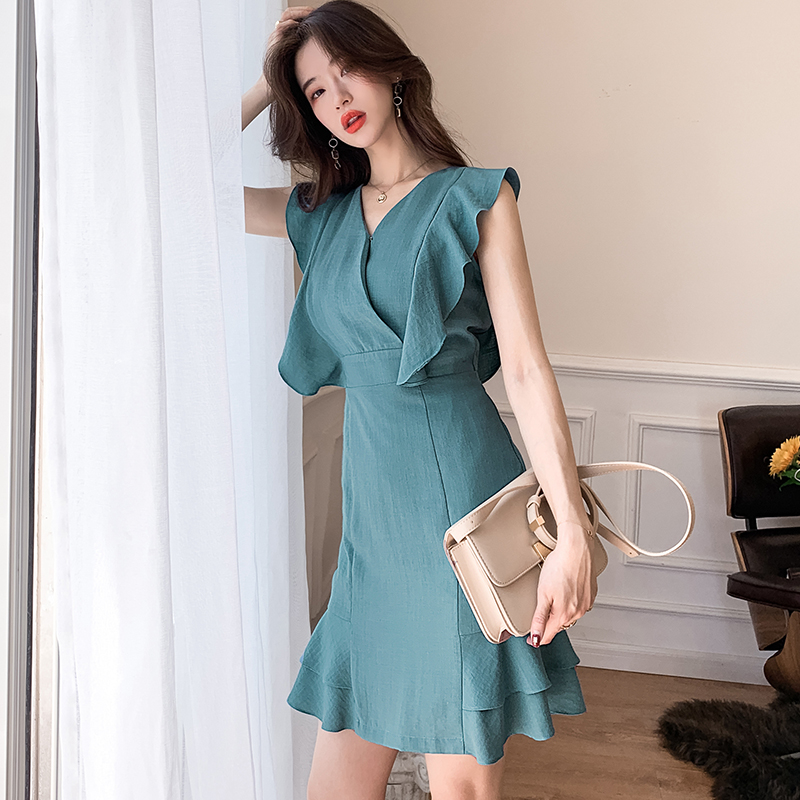 Only XL photo 891 2019 commuter Ruffle Dress Fashion temperament formal occasion career bag hip