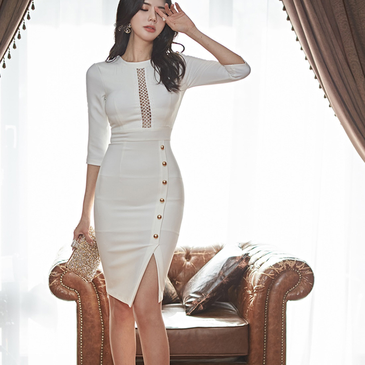 Only XL) 922 2020 spring new Korean version of commuting celebrity ol hollowed out party noble dress