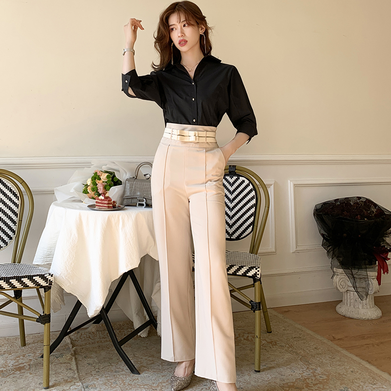 Only s real shot 917 2020 net red ins style versatile temperament double belt professional thin wide leg pants
