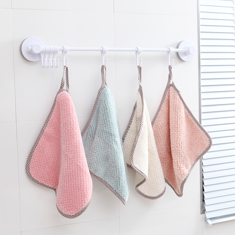 厨房可挂式抹布多功能清洁巾 日式简约珊瑚绒擦手巾不掉毛吸水强