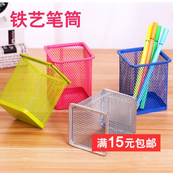创意时尚办公笔筒圆形铁艺多功能桌面收纳盒卡通方形学生笔筒批发