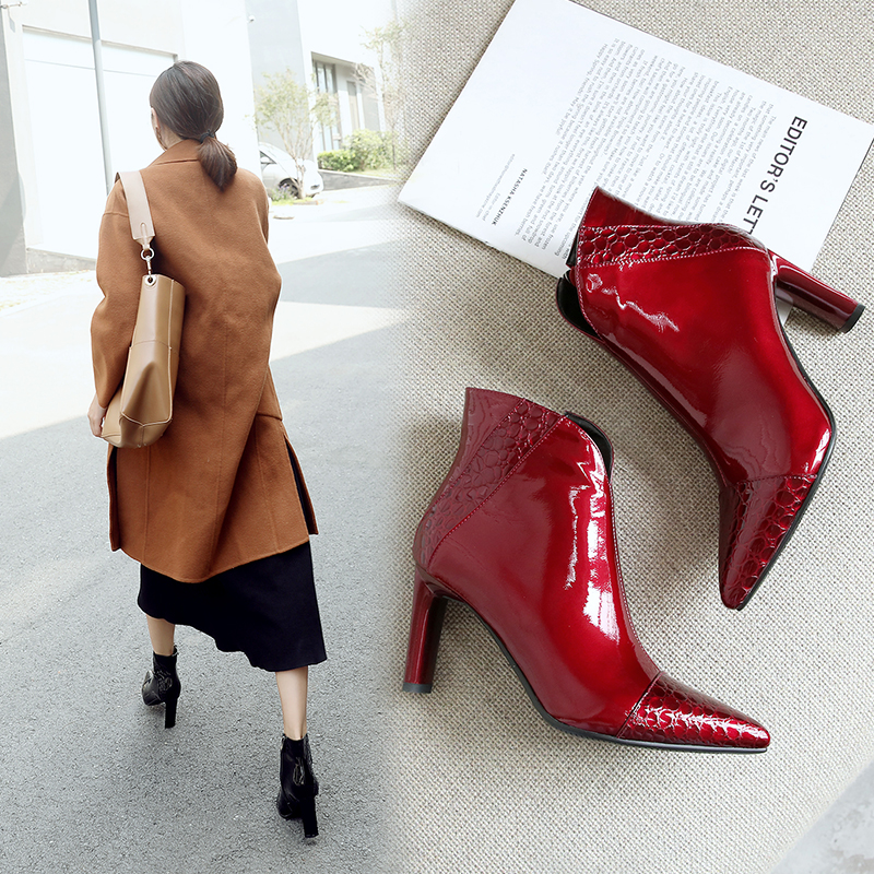 European and American sexy autumn and winter leather stone pattern stitching thick high heel womens boots cowhide side zipper short boots 3467