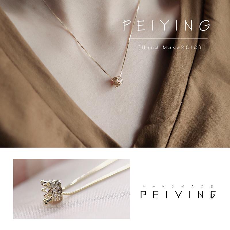 peiy 925纯银14k金项链女日韩版简约学生森系锁骨链创意潮人颈链