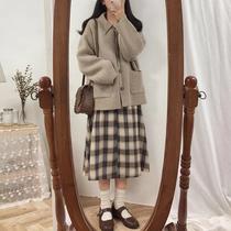 大码女装秋冬新款港风洋气减龄系带收腰连衣裙遮肉时髦毛衣两件套