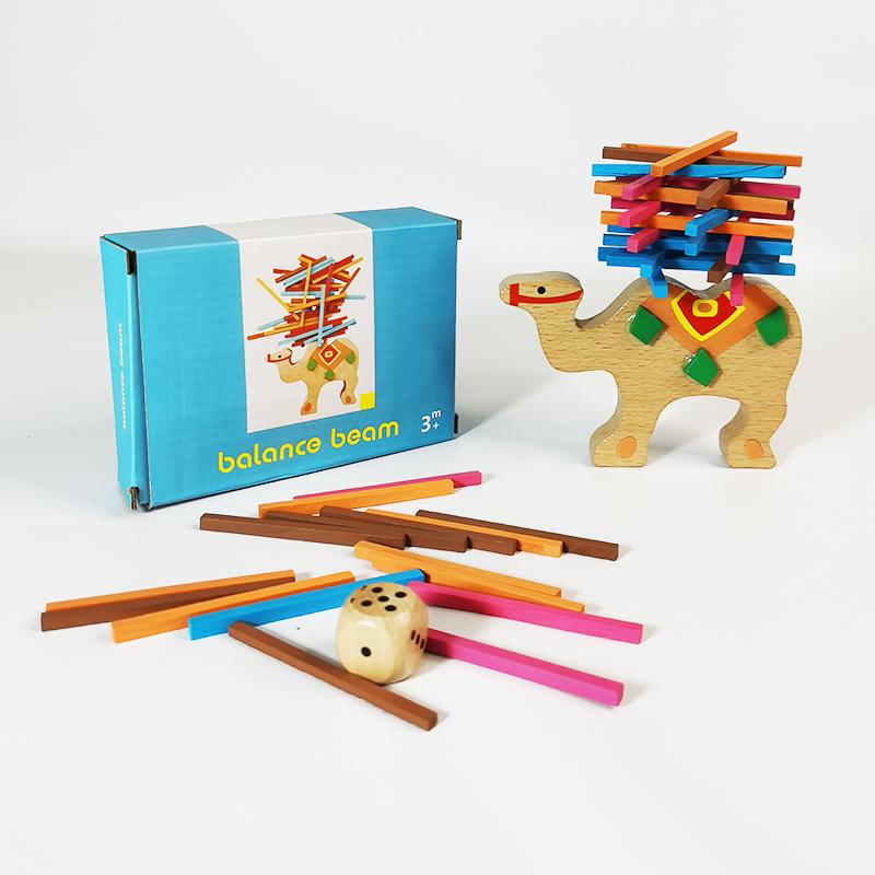 骆驼平衡木超值小礼品实木专注力精细动作游戏加配骰子