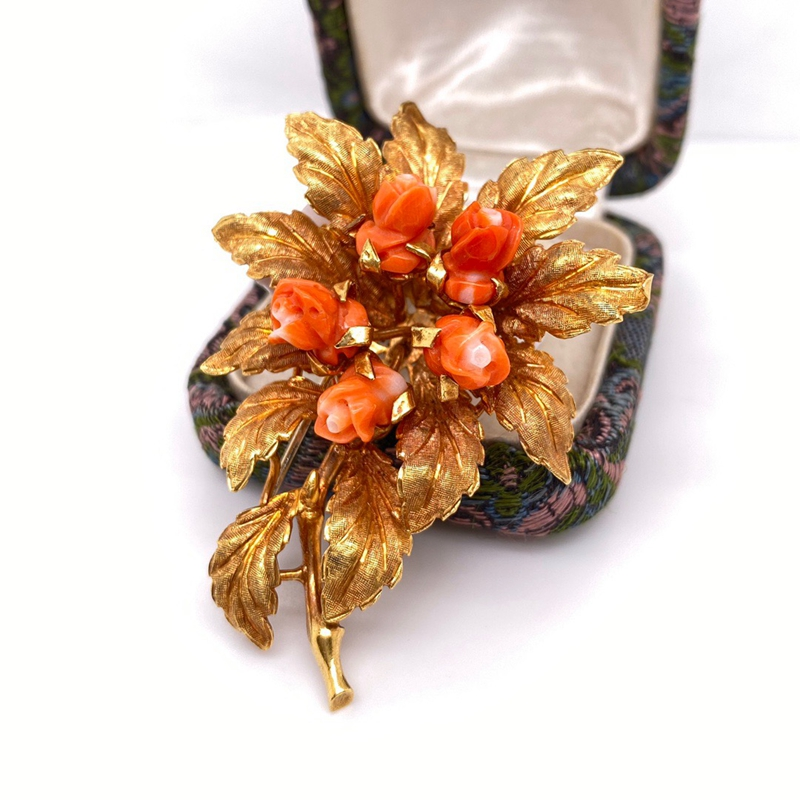 Allie jewelry, European jewelry, K-gold inlay, gemstone inlay, flower brooch, excellent and lifelike Technology