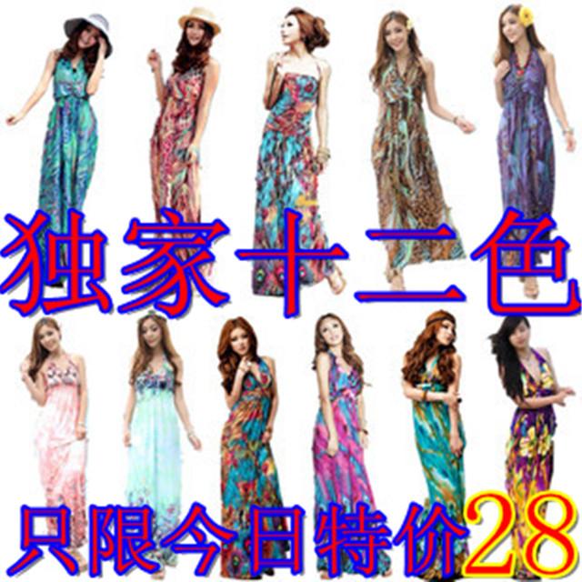 Богемной платья платья пляж повесить шеи печати платье плюс размер высокой талией тонкий пляж юбка