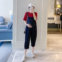 AROOM孕妇夏装纯色短袖T恤衫外搭蓝色薄款纯棉背带裤时尚两件套装