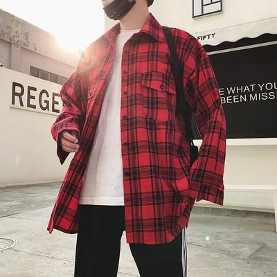 2018款韩版新款男士格子衬衣B287-C08-P58