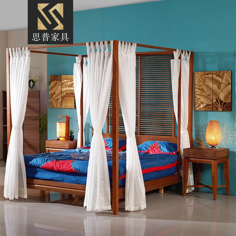 Арековая пальма пальма цвет к юго-востоку азия стиль мебель спальня полка кровать четыре столб кровать новый китайский стиль ясень маньчжурский деревянные кровати