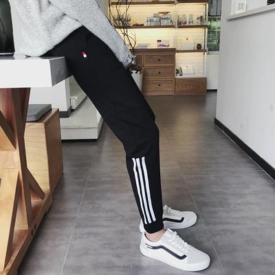 秋季潮流宽松运动裤 青少年韩版织带哈伦裤男士束脚裤子K213P35