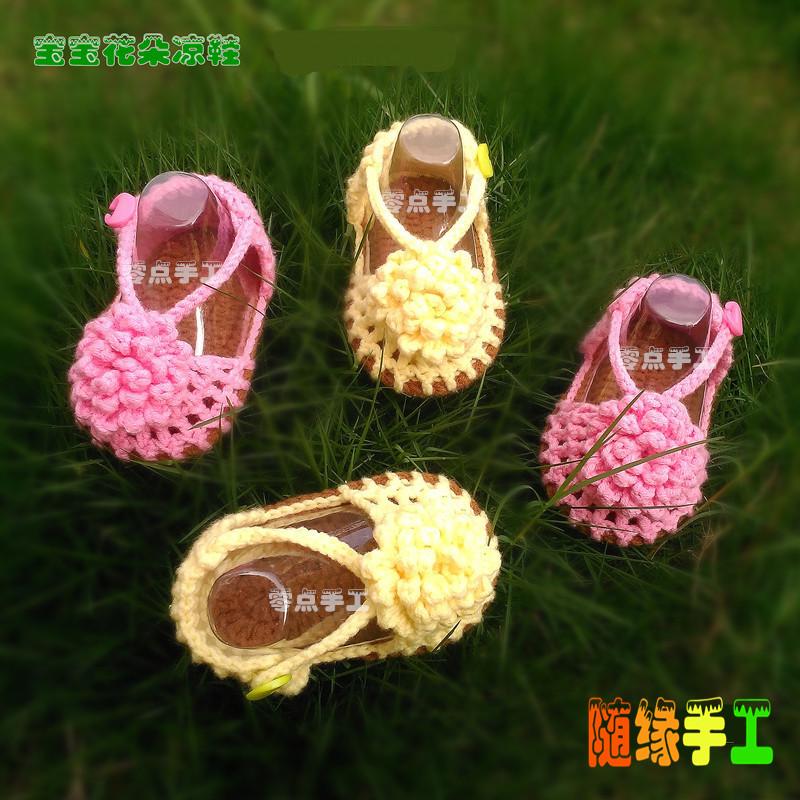 Прекрасный детские Маленькие сандалии для цветов ручная работа шерстяная пряжа вязанные на младенца Летняя обувь шерстяная пряжа башмак
