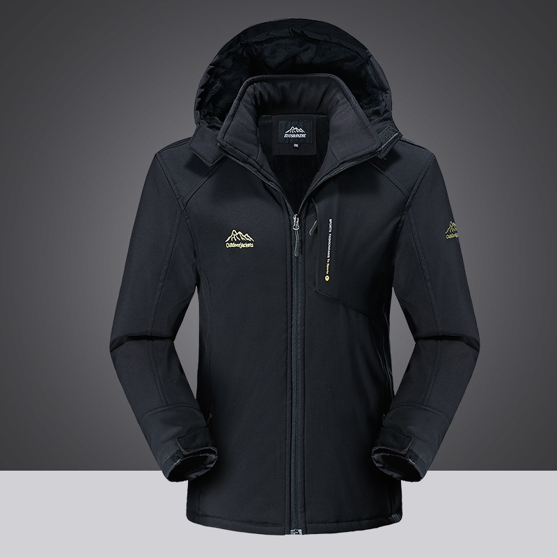 Outdoor assault coat with plush and thickened warm winter coat windproof mens sports jacket travel coat cotton padded jacket