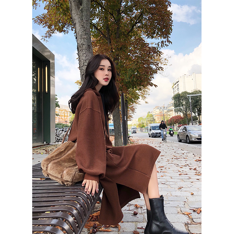 Lin Shanshan 2017 College Hitz Korean long-sleeved hooded drawstring sweater long section of female dress child