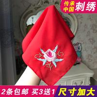 中國風禮物刺繡繡花絲綢手帕大紅色結婚鴛鴦喜帕旗袍漢服舞蹈手絹