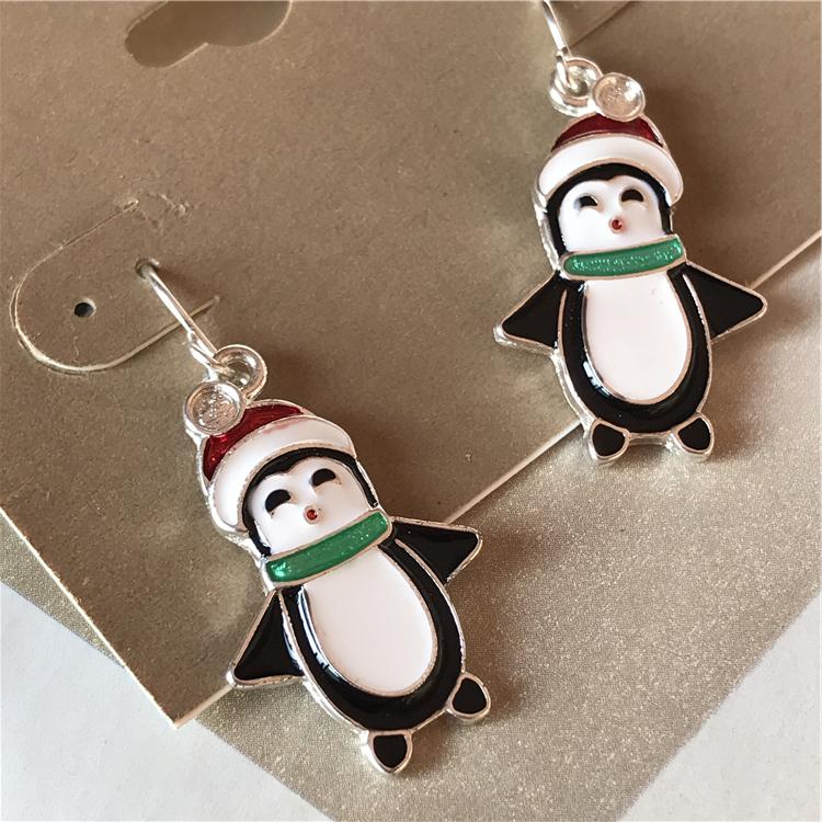 GA甜美欧美古着孤品库存原单出口耳环复古外贸可爱的企鹅喜庆