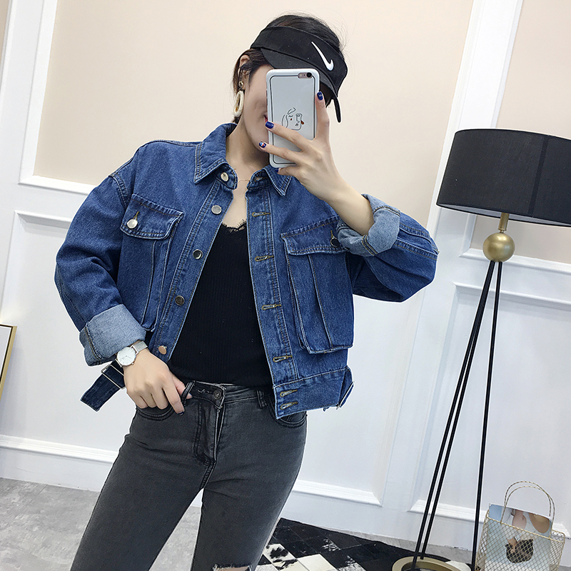 9247牛仔外套初秋新款韩版单排扣双口袋女装宽松百搭显瘦短款夹克