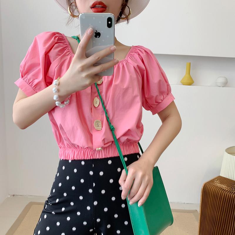 5075衬衫女夏季新款法式单排扣一字肩短款修身显瘦露脐洋气衬衣