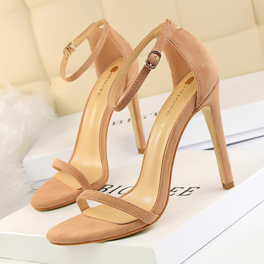 2020 European and American fashion sexy womens sandals thin heel ultra-high heel suede open toe word belt summer high heels