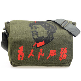 2015 new canvas shoulder messenger endorsement serving male retro Lei Feng army green