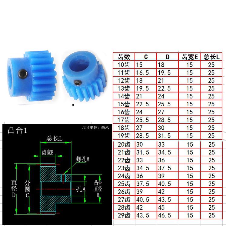 凸MC尼龙1.5模10 11 12 13 14 至 46 47 48 49 50齿蓝色正齿轮