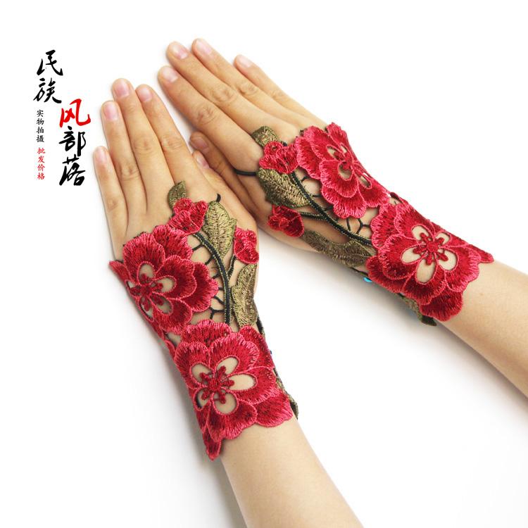 杨丽萍同款手套民族风护腕女刺绣漏指绣花手腕套冬季饰品半指手链图片