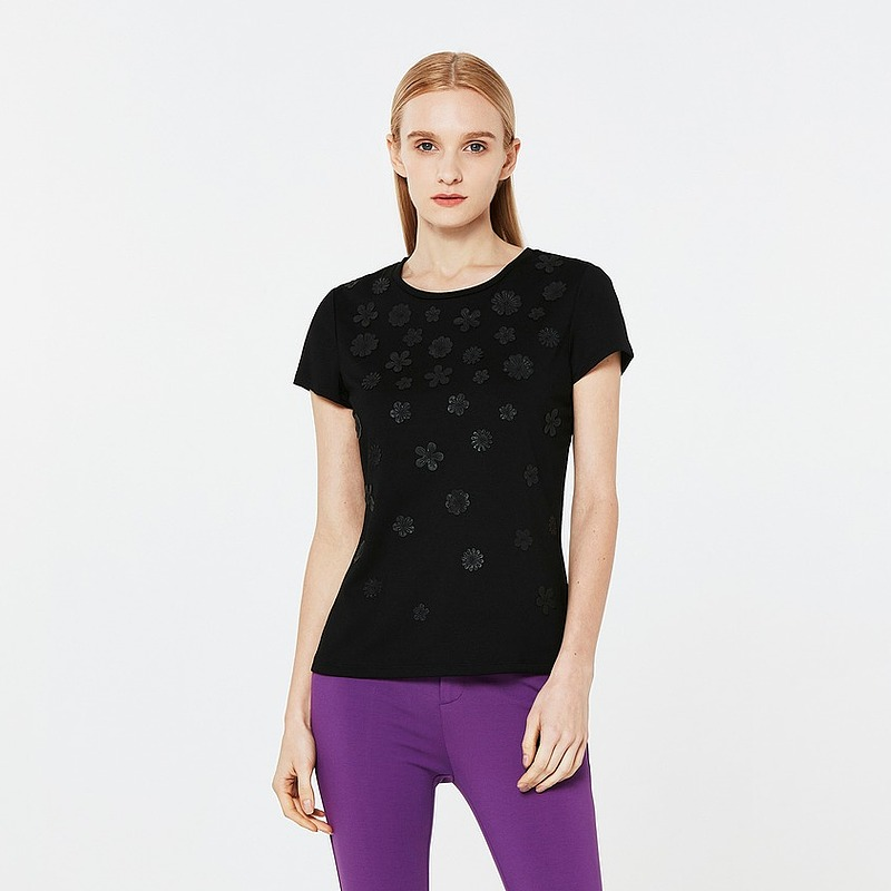 ports宝姿女装2018夏季短袖T恤立体钉珠黑色上衣LB8N121ACE002