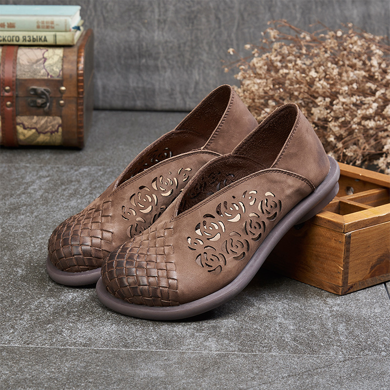 2021 new frosted year leather hollowed out Lolita shoes round head comfortable leather woven breathable womens shoes
