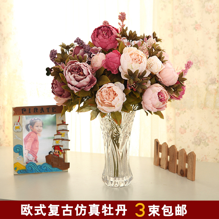 Богатые пион Hanaya d моделирование цветок искусственный цветок украшения украшения украшения цветок пластиковый гостиной пол шелковые цветы оптом