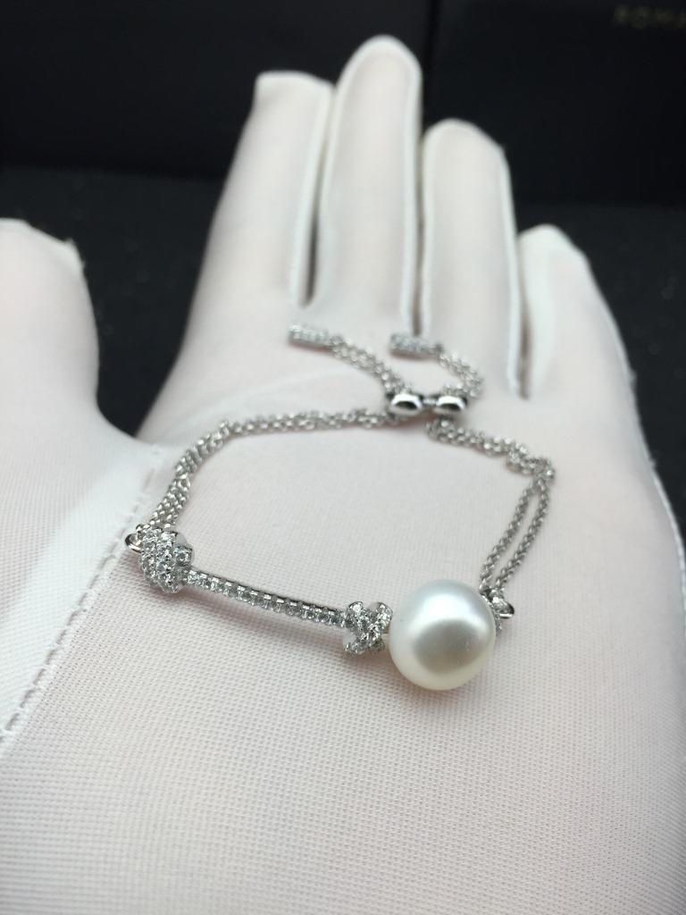 天然淡水珍珠手链双层可调节长度满钻通体925纯银新款欧美风气质